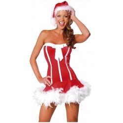 Sexy Santa - Kjole med fjær