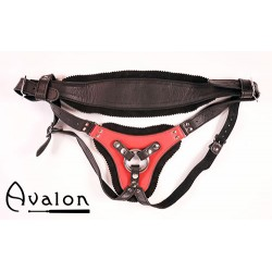 Avalon - TAKEN - Strap-on sele i sort og rødt lær