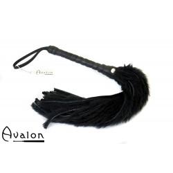 Avalon - GRIFFIN - Flogger med Lær og Pels, Svart