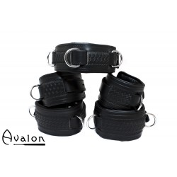 Avalon - LUST - Collar og Cuffs, 5 deler, Sort