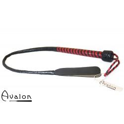 Avalon - DRAKE - Kort Bullwhip med Dobbel Snert - Svart og Rød