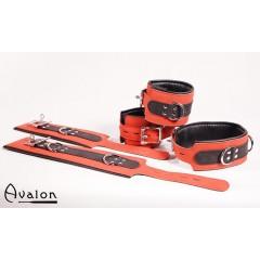 Avalon - Cuffs og collar sett rødt og sort