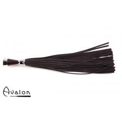 Avalon - MERLIN - Sort Lær Flogger med Kjegleformet Metallhåndtak