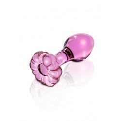 ICICLES No.48 - Rosa Buttplug av Glass med Blomst