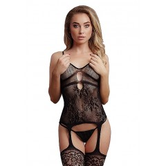 Le Desir - Bodystocking med Blonder og strømper - Sort